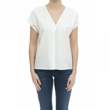 Camicia donna - 6319 15112 camicia scollo v senza maniche 001 - bianco