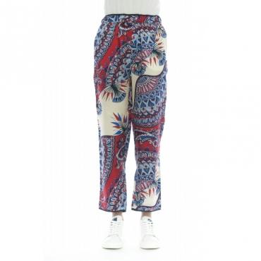 Pantalone donna - J4029 stampa pantalone 656 - Papavero