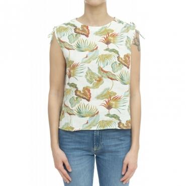 Camicia donna - Eliana 5290 camicia stampa W441 - Bianco