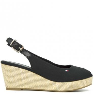 Sandalo con zeppa sling back wedge NERO