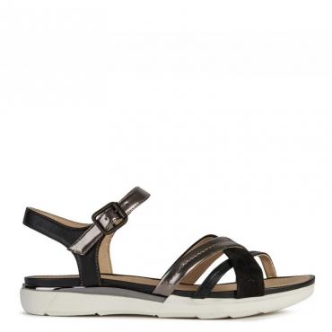 Sandalo Hiver con fasce incrociate C9247LEAD/BL