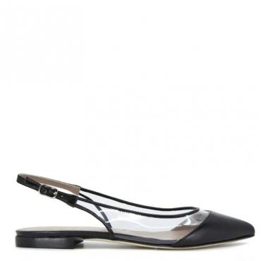 Sandalo basso con lato trasparente NERO
