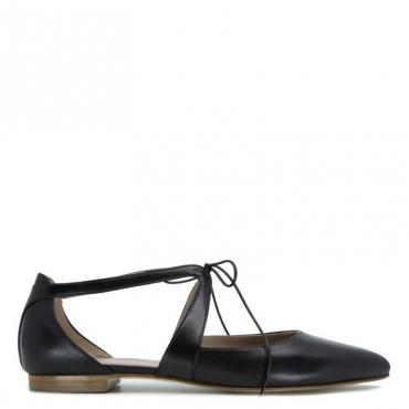 Sandalo in cuoio con laccio Giselle NERO