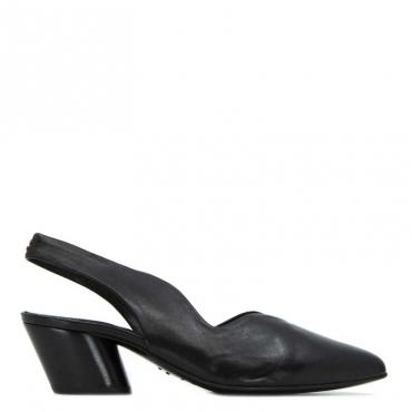 Sandalo nero asimmetrico aperta sul tallone NERO/NERO