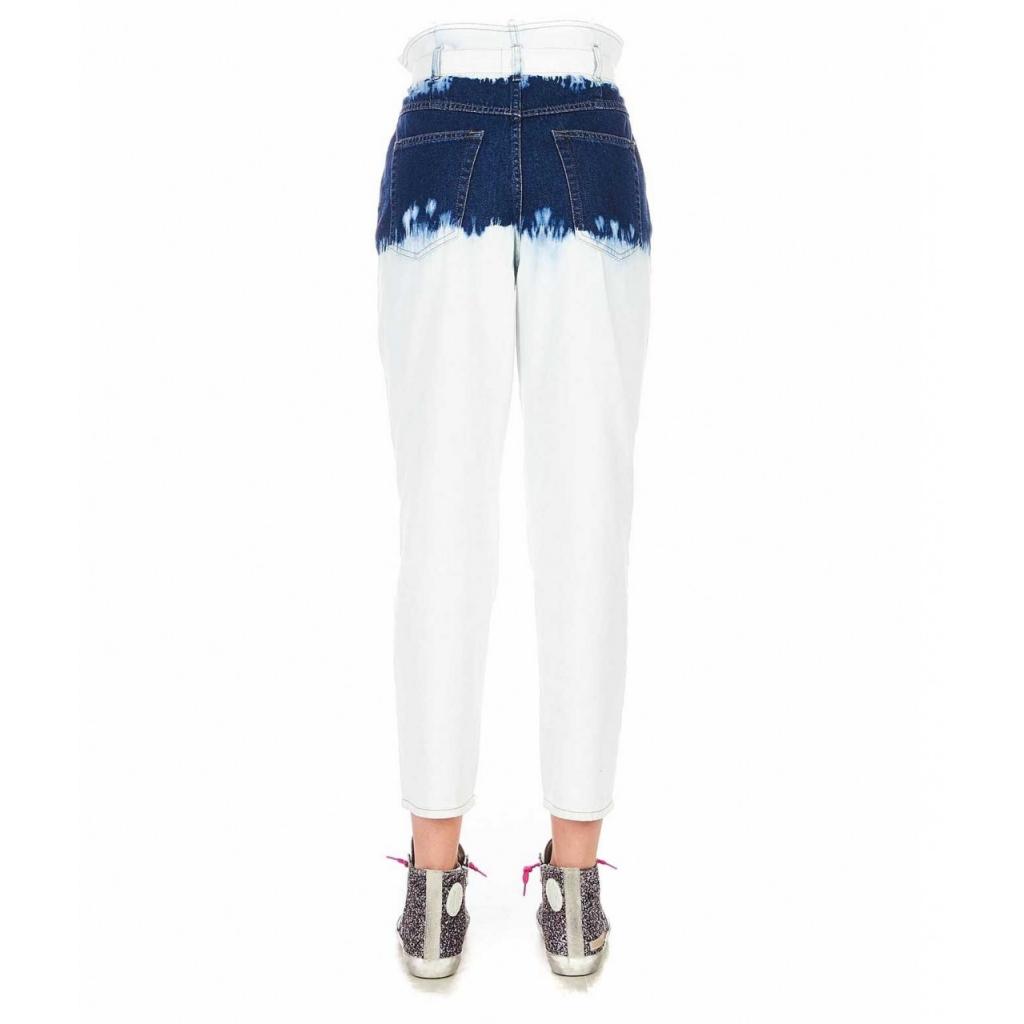Pantaloni paperbag tie-dye in jeans San Domino blu