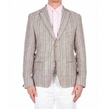 Blazer in lino a righe marrone