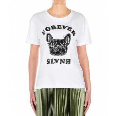 T-shirt con applicazione di lustrini Mezochi bianco