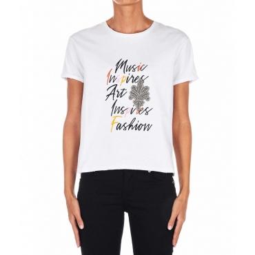 T-shirt con applicazione strass bianco