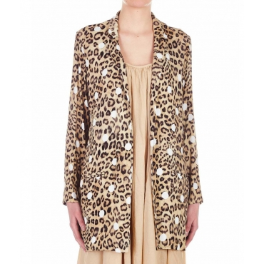 Blazer in viscosa con stampa Animalier  Pois multicolore