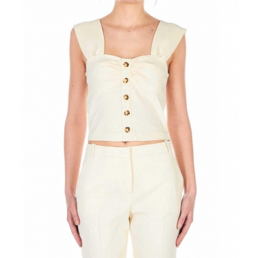 Top in misto lino Carletto beige