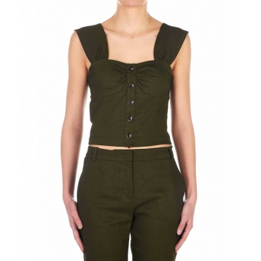 Top in misto lino Carletto khaki