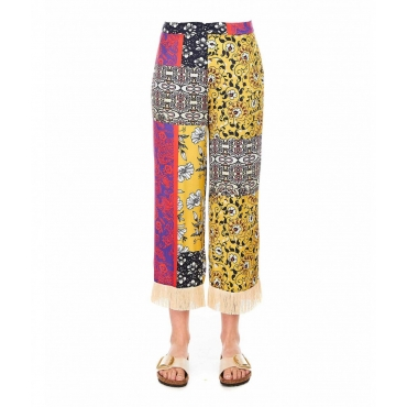 Pantaloni largo con stampa floreale multicolore