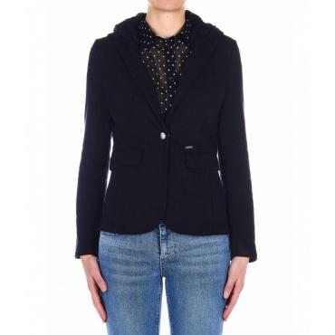 Sweat-blazer con cappuccio blu scuro