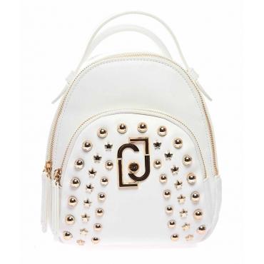 Zaino con borchie bianco