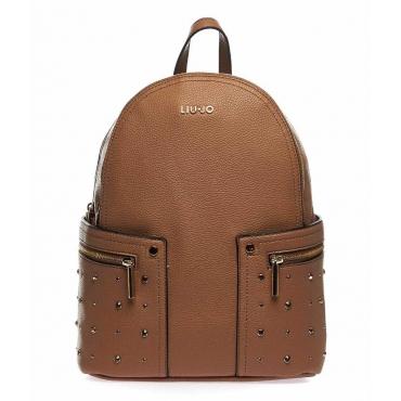 Zaino con borchie stelle marrone