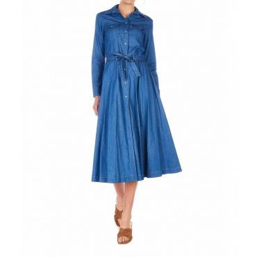 Vestito bottonato in jeans blu