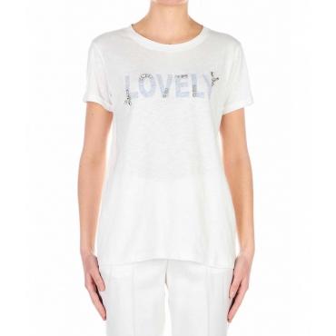 T-shirt con dettagli in strass bianco