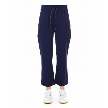 Pantalone jogging largo con applicazione strass blu