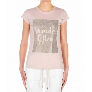 T-Shirt con paillettes rosa antico
