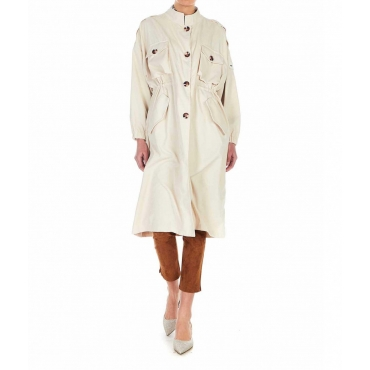 Cappotto in finitura velluto a coste beige