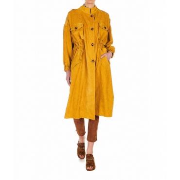 Cappotto in finitura velluto a coste giallo