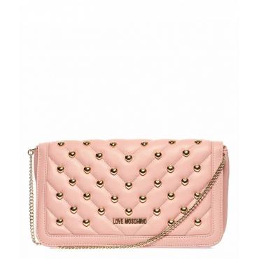 Borsa a tracolla trapuntata con borchie cuore rosa