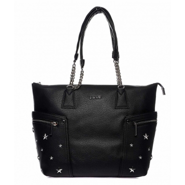 Shopper con borchie stelle nero