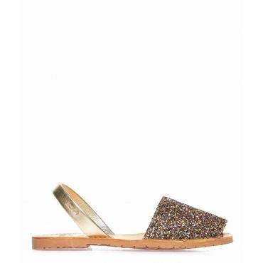 Sandali glitterati peep toe in pelle multicolore