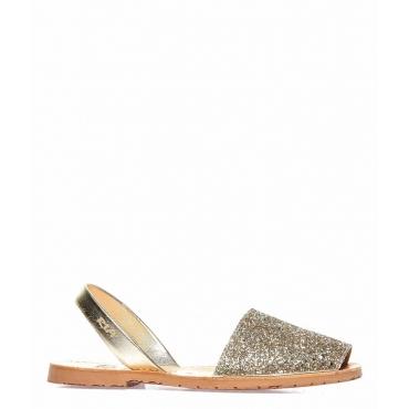 Sandali glitterati peep toe in pelle oro