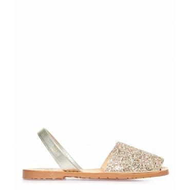 Sandali glitterati peep toe in pelle rosa