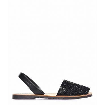 Sandali glitterati peep toe in pelle nero