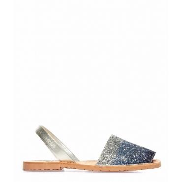 Sandali glitterati peep toe in pelle blu