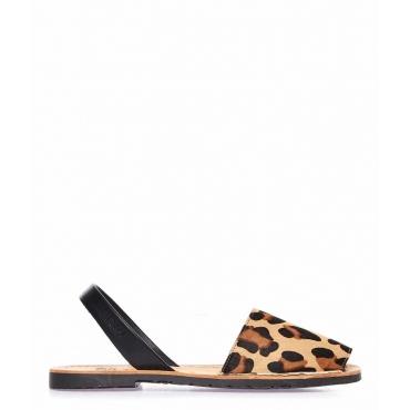 Sandali peep toe in pelle con stampa animalier beige