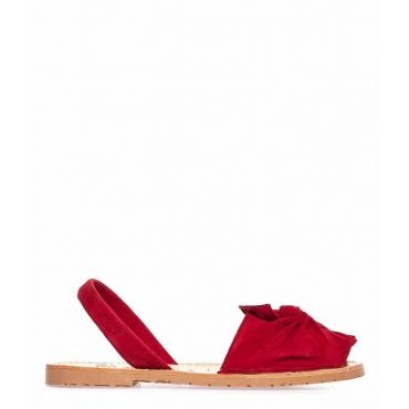 Sandali peep toe in pelle con fiocco rosso