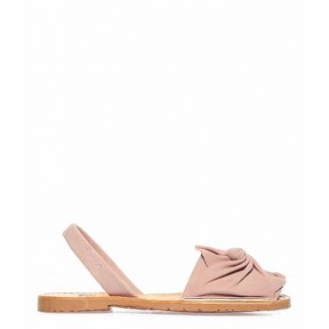 Sandali peep toe in pelle con fiocco rosa