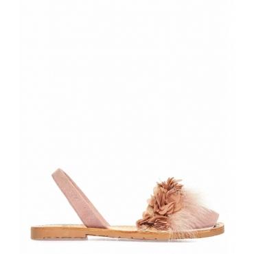 Sandali peep toe in pelle con piume rosa