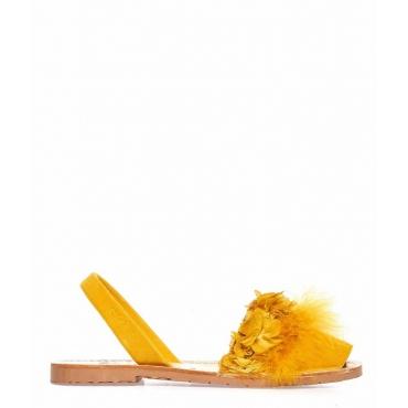 Sandali peep toe in pelle con piume giallo