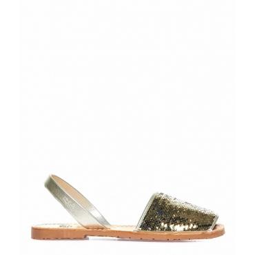 Sandali peep toe in pelle con lustrini oro