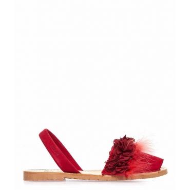 Sandali peep toe in pelle con piume rosso