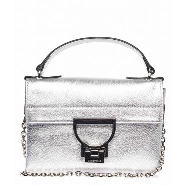 Piccola borsa a tracolla in pelle argento