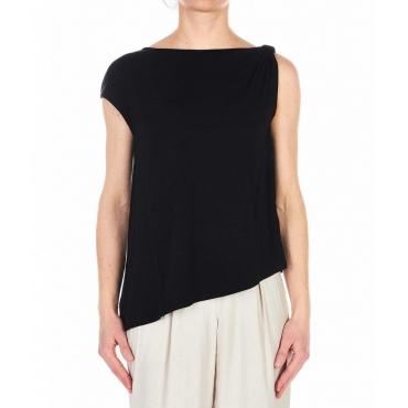 T-shirt con fondo assimmetrico nero