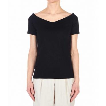 T-shirt off-shoulder nero