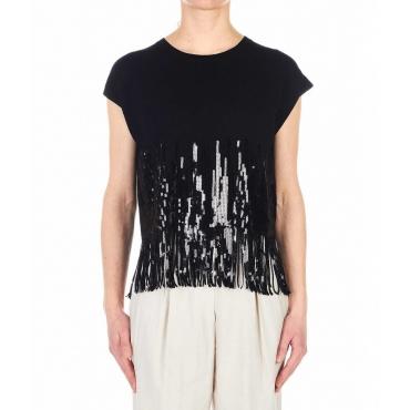 T-shirt in maglia con paillettes nero