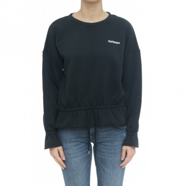 Felpa donna - Cropped coulisse sweater BLACK