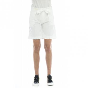 Bermuda donna - Coralbe 5248 vita alta cintura W441 - Bianco