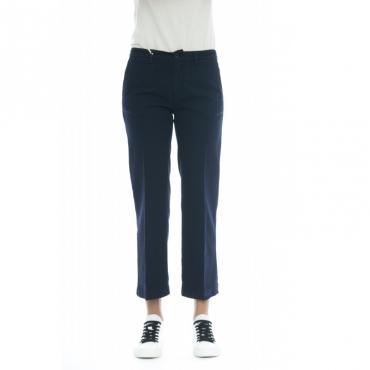 Pantalone donna - Elena 5246 vita alta misto lino W2126 - Blu