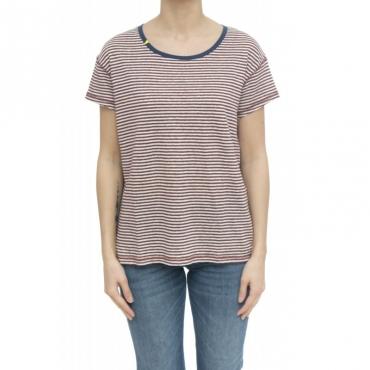 T-shirt - L30206 t-shirt lino 0136 - Bianco Bordo