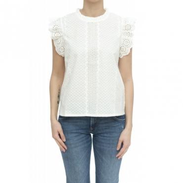 Camicia donna - S30214 camicia sm san gallo 01 - Bianco