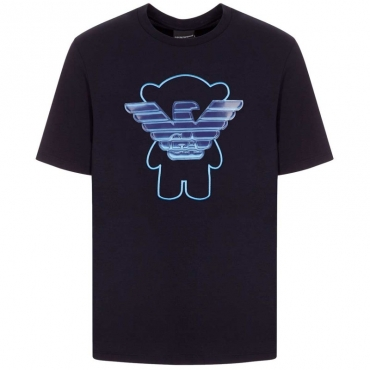 T-shirt blu Manga Bear con patch aquila azzurra BLU NAVY
