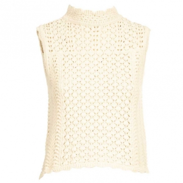Top in crochet di cotone C03WHITE